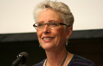 Jennifer Wolch, director of the USC Center for Sustainable Cities, pictured here during the April 30 event, also organized last year's Sustainability Champion Award honoring Robert F. Kennedy Jr. on behalf of his environmental group.