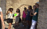 Student Sundhya Nadadur lecturing in the Colosseum as part of the Rome PWP trip.
