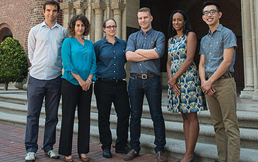 The newly arrived 2014 cohort of Provost's Postdoctoral Scholars are, from left, Thomas Pashby, Anna Rosenweig, Jessica Rosenberg, James Thomas, Gina Greene and Simeon Man. Photo by Peter Zhaoyu Zhou.