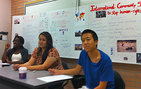 High school students in a Summer@USC Program course debate international intervention in human rights violations. Photo by Susan Kamei.