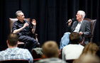 British Academy award winning director Michael Apted (right) discusses using real-life stories in documentaries with Micahel Renov, professor of critical studies and associate dean for academic affairs in the USC School of Cinematic Arts, during the USC Shoah Foundation Institute's Student Voices Master Class. Photo by Kim Fox.