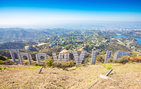 A view from the iconic Hollywood sign into the expanse of the Los Angeles Basin.