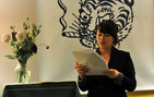 Nicky Sa-Eun Schildkraut, a Ph.D. student in literature and creative writing in USC Dornsife, reads from her   first book, Magnetic Refrain, during the Kaya Press launch party. The poetry collection will be published in September 2012 by the leading independent press of Asian American literature in the United States, Kaya Press, which is housed in USC Dornsife's Department of American Studies and Ethnicity (ASE). Photo by Ambrosia Brody.