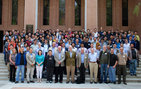 Participants at a recent symposium celebrating 30 years of computational biology at USC Dornsife, and the birthdays of Michael Waterman (right center) and Simon Tavaré (left center), pioneers in the field who developed the program in USC Dornsife. Photo by Pamela J. Johnson.