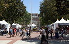 Thousands stroll USC's University Park campus April 21 and 22 and attend panel discussions, including ones that spotlight USC Dornsife authors. Photo by Dennis Martinez.