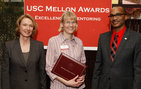 From left, co-chair Erica Muhl, USC Dornsife associate professor Elsi Kaiser and Timothy Pinkston of the Mellon Mentoring Forum. Photo by Steve Cohn.