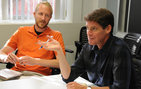 "Bill Handley, associate professor of English (right), instructs USC Dornsife's Master of Liberal Arts (MLS) student Nathan Masters in the course ""Ideas of Nature."" Photo courtesy of MLS."