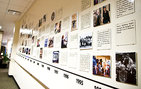 Visitors are invited to tour the USC Shoah Foundation Institute. This wall display maps out the institute's history preserving nearly 52,000 video testimonies of Holocaust survivors and other witnesses. Photo by Kim Fox.