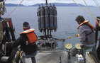 In a project led by USC Dornsife, scientists deploy an instrument that collects water at a specific depth while making measurements of chemical and physical properties at those depths. Photo by Diane Kim.