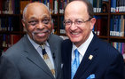 "The Rev. Cecil ""Chip"" Murray of USC Dornsife (left) was recently honored for his work in the community in an event at Doheny Memorial Library hosted by USC President C. L. Max Nikias. Photo by Dietmar Quistorf."
