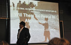 "USC Dornsife Senior Lecturer of Economics Nake Kamrany speaks on ""Will There Be Peace in Afghanistan?"" The March 27 event was sponsored by the USC student organization, Global Income Convergence Group, in which members conduct research related to global economics. Photo by Laura Paisley."