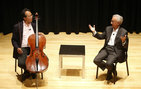 World renowned cellist Yo-Yo Ma (left) and University Professor Antonio Damasio engage in a spontaneous discussion about music's role in reducing personal pain and increasing joy. Photo by Steve Cohn.