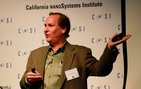 Mark Thompson, professor of chemistry, materials science and environmental sciences at USC Dornsife, speaks at the recent UCLA-USC-Caltech Nanotechnology & Nanomedicine Symposium about his groundbreaking research on nanoribbon biosensor chips for cancer diagnosis. Photo by Emily Bieghler.