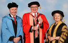 USC Dornsife Dean Steve Kay (center) with University of Bristol's Alistair Hetherington, Melville Wills Chair in Botany, and the university's chancellor The Right Honourable the Baroness Hale of Richmond. Photo by Ede and Ravenscroft Photography Ltd.