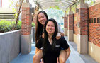 USC Dornsife political science major Adrienne Liu (left), and student Shinnie Tu, who also participates in Inside Track. Photo by Vigor Lam.
