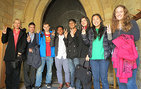 USC Levan Institute Director Lyn Boyd-Judson with students in front of the oldest door at the University of Oxford, where teaching has existed since 1096. From left, Boyd-Judson, Emmanuel Laboy, Andrew Molina, Mushfiqur Chowdhury, Anshuman Siripurapu, Marissa Roy, Alice Lee and Orli Robin. All are USC Dornsife students except Laboy of  Quinnipiac University, Connecticut. Photo courtesy of Lyn Boyd-Judson.