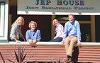 The Winn family, from left, Kate, Jack, Cindy and Michael, at the Joint Educational Project (JEP) House. All are involved in JEP, with Michael and Cindy Winn donating money to JEP's Young Scientist Program. Photo by Susan Bell.