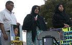 Flanked by her husband and daughter, Usman Chaudhry's mother speaks at a vigil held on June 21, 2008, at the location of her youngest son's wrongful shooting by an LAPD officer. From left: Afzhal Chaudhry, Rukhsana Chaudhry, Usma Chaudhry. All photos courtesy of Olu Orange.