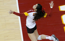 Samantha Bricio in action on the court. Photo by Percy Anderson.
