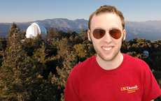 """This has opened up communication and people are becoming more interested in working with results from our Mt. Wilson data study,"" said Ph.D. physics and astronomy student Stephen Pinkerton, first place winner of poster contest in national contest, standing at the Mount Wilson Observatory in the San Gabriel Mountains near Pasadena. Photo by Steven J. Hale."