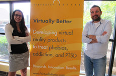 Alumni and friends Dawn McDaniel and Marat Zanov work at Georgia-based Virtually Better, Inc., to develop virtual reality treatments for anxiety disorders such as post-traumatic stress disorder (PTSD), which frequently affects veterans. Both earned Ph.D.s in psychology at USC Dornsife. Photos courtesy of Marat Zanov and Dawn McDaniel.