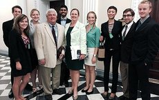 During a Problems Without Passports trip to Washington, D.C., to gain insights about the nonproliferation of weapons of mass destruction, students visited the White House. From left, Aaron Rifkind, Emily Kennelly, Kayla Foster, Wayne Glass, Kshitij Kumar, Laura Holgate, Kayleigh Axtell, Adela Jones, John Caton and Ian Beck. Photos courtesy of Wayne Glass.