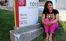 Junior Azmera Hammouri-Davis is a resident assistant at Webb Tower on USC's University Park campus. Photos by Susan Bell.