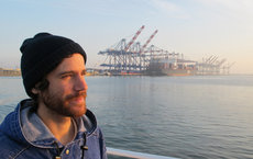 Alberto Robador, postdoctoral researcher at USC Dornsife, seen here at the Port of Los Angeles in San Pedro aboard USC's Miss Christi, is lead author of a paper on the new microbes published by <em>Frontiers in Microbiology</em>. Photo courtesy of Alberto Robador.