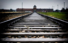 The Auschwitz camp is seen at the end of the tracks. Photo by Steve Purcell.
