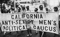 Male feminists take part in a 1980 protest. Photo by Rick Cote.