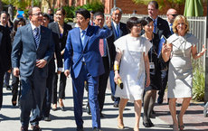 Touring the University Park campus on May 2 are, from left: USC President C. L. Max Nikias; Japanese Prime Minister Shinzo Abe and his wife, Akie Abe; and Niki C. Nikias.  Photos by Gus Ruelas.