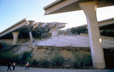 Freeway collapses were among the damage from the 1994 Northridge quake, caused by a previously unknown fault. Photo courtesy of FEMA, by Robert Eplett.