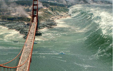 A tsunami caused by the San Andreas? Nope. Image from <em>San Andreas</em> courtesy of Warner Bros. Entertainment.