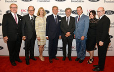 From left, USC Dornsife Dean Steve Kay, USC President C. L. Max Nikias, Niki C. Nikias, event co-chair Mickey Shapiro, Steven Spielberg, William Clay Ford Jr., Heather Maio, and USC Shoah Foundation Executive Director Stephen Smith attended the 2015 Ambassadors for Humanity fundraising gala, where Ford was honored for his commitment to education and the Detroit community. Photos by Scott Legato/Getty Images for USC Shoah Foundation.