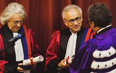 Hanna Damasio and Antonio Damasio receive Doctor Honoris Causa degrees at a formal ceremony held at the Sorbonne in Paris on Sept. 17. Photos by Julien Hay.