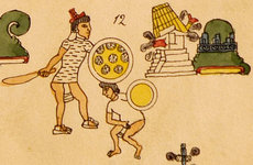 An image made by Aztec artists from the Codex Mendoza, an early cultural encyclopedia dating from ca. 1542 that traveled widely in the 16th and 17th centuries.