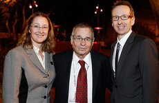 Interim Dean of USC Dornsife Dani Byrd, left, and USC Provost Michael Quick flank Arieh Warshel in this photo taken during Nobel laureate Warshel's 75th birthday celebration at USC. Photos by Steve Cohn.