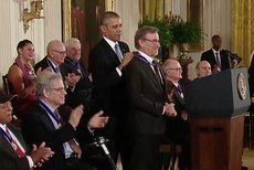 President Barack Obama presents Steven Spielberg with the Presidential Medal of Freedom. (White House photo.)