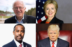 Bernie Sanders, Hillary Clinton, Donald Trump and Ben Carson represent liberal and conservative views. Photo collage by USC Staff.