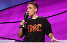 USC Dornsife junior Sam Deutsch celebrates his Jeopardy tournament victory. Photo courtesy of Jeopardy Productions Inc.