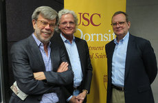 "Bill Carrick, Fred Davis and Todd Purdum (left to right) participate in an event titled ""The Day After: What Happens Post New Hampshire"" as part of the USC Dornsife Department of Political Science's Political Conversations series. Photo by Yaminah McKessey."