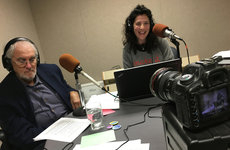 "Dawn Gross interviewing her first mentor, Jeffrey Mandel, a hospice and palliative medicine doctor practicing in the Bay Area, during the launch of her radio show, ""Dying to Talk."" Photo courtesy of Dawn Gross."