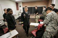 Brig. Gen. Viet Luong leaves his visit with first-year ROTC cadets on campus. Photos by David Sprague.