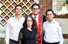 Brothers Aldo, Adrian and Alex Trinidad, from left, with their mother Rosario. Photo by Will Chiang.
