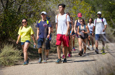 Students hike with Ainsley Carry, far right, USC vice provost of student affairs. Photos by Tim Rue.