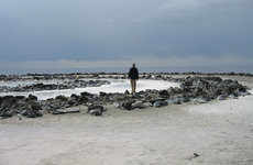 Geoff Dyer visits Utah's Spiral Jetty  by iconic land artist Robert Smithson, one of the places explored in his new book of essays, <em>White Sands</em>. Photo courtesy of Geoff Dyer.