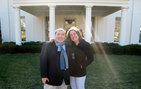 USC College alumni Gary Lee '07 and Emily Fetting '06 stand in front the West Wing of the White House. Lee works for President Barack Obama as a White House liaison. Photo courtesy of Gary Lee.