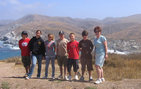 Pamela Bluestein (right) stands with her winning Sycamore Canyon Middle School seventh graders in Catalina Island. The students are, from left, Justin Tan, Erin Zisman, Remington Parker, Alex Vesling, Austin Mason and Jared Cummings. Photo credit Vanessa Knutson.