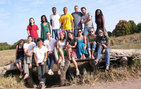 USC College students pose at the site of the bridge in the village of Sikoro, Mali. Top row, from left to right, Adriana Lovera, Monica Murillo, Kamau Butcher, Matt Seals, Greg Woodburn, Joshua Lang, Breanna Morrison. Bottom row, from left to right, Berit Elam, Lauren Nalepa, Adrian Au, Daniel McLaughlin, Myra Chai, Lauren Ciszak, Cathy Sherman, Shaimaa Abdelhamid. Photo courtesy Myra Chai.