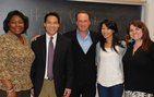 Tammara Anderson (left), Mitchell Lew, Daniel Potter, Janet Lin and Holly Villamagna at the speaking event on campus. Photo credit Pamela J. Johnson.